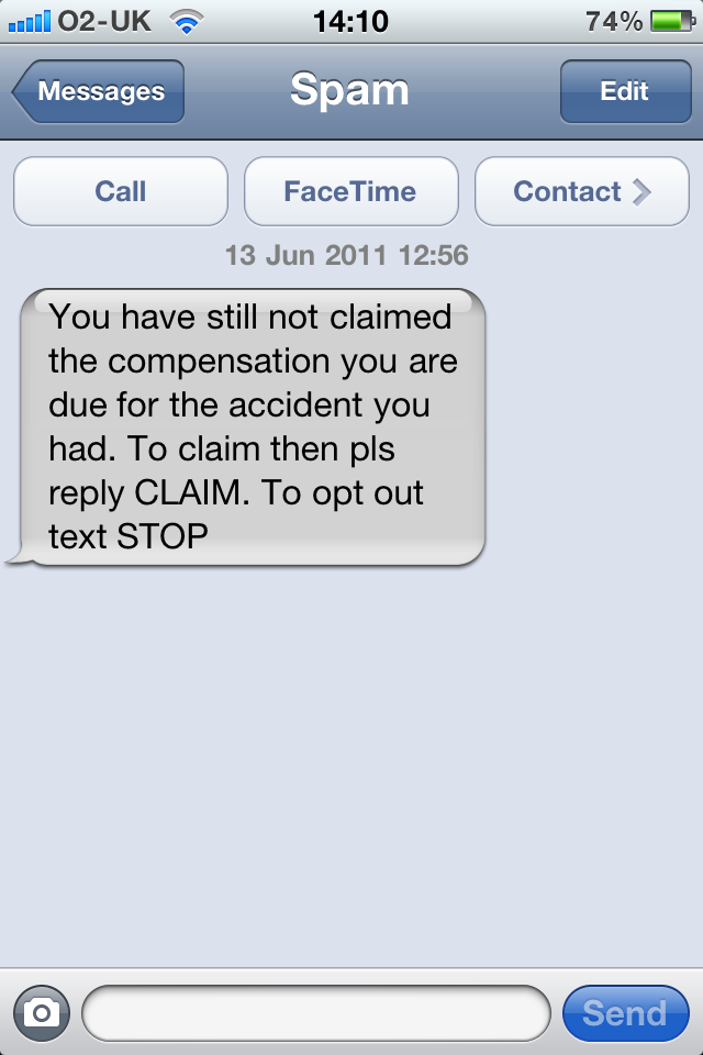Report sms spam o2 uk
